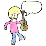 Cartoon sixties guitar player Royalty Free Stock Photography