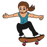 Cartoon skateboarder in action. Isolated on a white background Stock Photos