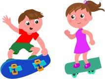 Cartoon skateboarders isolated vector Stock Photos