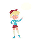 Cartoon skater girl giving thumbs up symbol with thought bubble Royalty Free Stock Images