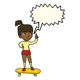 cartoon skater girl with speech bubble Stock Images