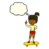 cartoon skater girl with thought bubble Royalty Free Stock Photos