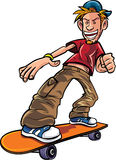 Cartoon skater on his skateboard. Isolated on white Royalty Free Stock Image