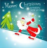Cartoon skating Santa Claus christmas 2015. Stock Photo