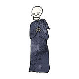 Cartoon skeleton in black robe Stock Photography