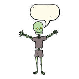 Cartoon skeleton in clothes with speech bubble Royalty Free Stock Images