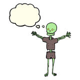 Cartoon skeleton in clothes with thought bubble Royalty Free Stock Photography