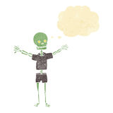 Cartoon skeleton in clothes with thought bubble Stock Photography