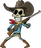 Cartoon skeleton cowboy with a gun. Isolated on white Stock Photo