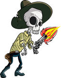 Cartoon skeleton cowboy with gun. Isolated on white Royalty Free Stock Photography