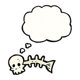 Cartoon skeleton fish bones. Retro cartoon with texture. Isolated on White Stock Images