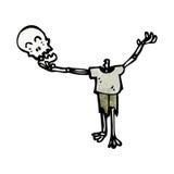 Cartoon skeleton holding skull Stock Photos