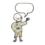 cartoon skeleton waving with speech bubble Stock Image