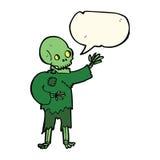 Cartoon skeleton waving with speech bubble Royalty Free Stock Image