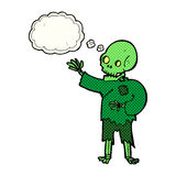 Cartoon skeleton waving with thought bubble Stock Photo