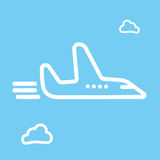 Cartoon sketch airplane and cloud icon vector illustration. Royalty Free Stock Photos