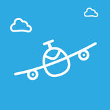 Cartoon sketch airplane and cloud icon vector illustration. Stock Images