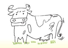 Cartoon Sketch of Cow Royalty Free Stock Photography