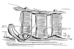 Cartoon Sketch of the Marina Bay Sand, Singapore. Cartoon sketch drawing illustration of Marina Bay Sand, Singapore Royalty Free Stock Images