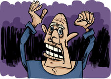 Cartoon sketch of scared man Royalty Free Stock Photography