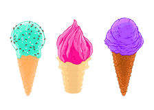 Cartoon sketch set of three ice cream cones with glaze, grit and waffle. Cartoon sketch set of three ice cream cones with glaze, grit and waffle isolated on the Royalty Free Stock Image