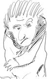 Cartoon Sketch. Single strange looking man, sketch/Illustration in black and white carrying something into his right hand, angry looking person artistic styled Stock Image
