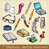 Cartoon sketch stationary Royalty Free Stock Photo