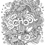 Cartoon sketchy hand-drawn Doodle on the subject of education Royalty Free Stock Photography