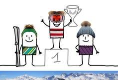 Cartoon Ski Champion Boy on Podium with Cup. Collage Stock Photo