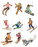 Cartoon ski people icon Stock Photo