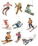 Cartoon ski people icon. Drawing Stock Photo