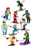 Cartoon ski people icon stock illustration