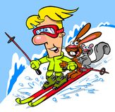 Cartoon skier. Cartoon caricature of man on skis with rabbit and squirrel Royalty Free Stock Images