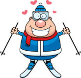 Cartoon Skier Love. A cartoon illustration of a skiing man with hearts Stock Photos