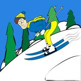 Cartoon skier traveling at high speed from the hill Stock Photo