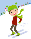 Cartoon skiing boy Stock Photography