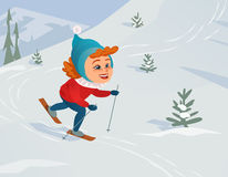 Cartoon skiing girl Stock Images