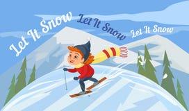 Cartoon skiing girl Stock Image