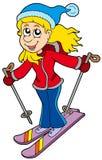Cartoon skiing woman vector illustration