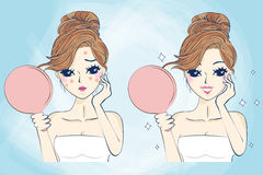 Cartoon skin care woman Royalty Free Stock Photography