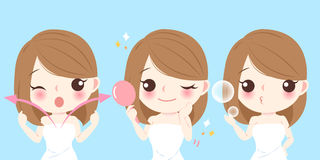 Cartoon skin care woman. Beauty cartoon skin care woman on blue background Royalty Free Stock Image