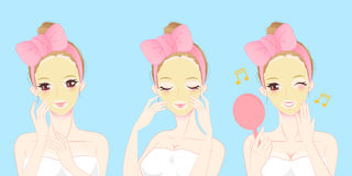 Cartoon skin care woman. Beauty cartoon skin care woman with mask Royalty Free Stock Image
