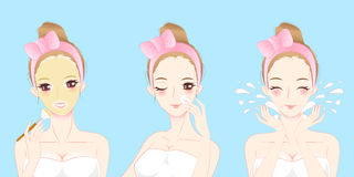 Cartoon skin care woman. Beauty cartoon skin care woman with mask Stock Photography