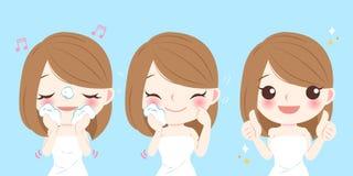 Cartoon skin care woman. Beauty cartoon skin care woman wash her face Stock Photos