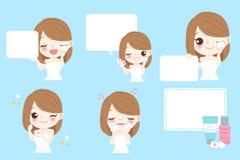 Cartoon skin care woman. Beauty cartoon skin care woman wash her face Stock Image