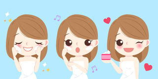Cartoon skin care woman Stock Images