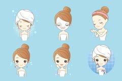 Cartoon skin care woman Stock Photo