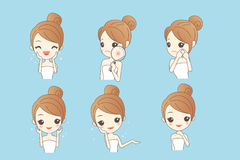 Cartoon skin care woman. With various expression and face skin problem - young woman with a acne and magnifying glass check it, beauty Royalty Free Stock Image