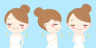 Cartoon skin care woman. Wash her face Stock Images