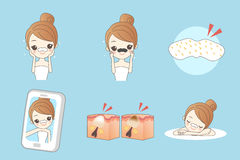 Cartoon skincare woman Stock Images